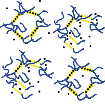 Image: Harvard researchers have shown how ultrasound can temporarily disrupt an alginate hydrogel, which is held together by calcium ions (black dots) that are bound to acid chains (yellow). The gel self-heals when the ultrasound stops (Photo courtesy of the Wyss Institute and Harvard SEAS).