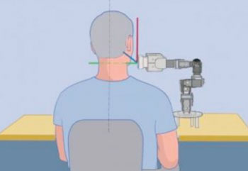 ge: Graphic of the way trans-Atlantic robot-assisted ultrasound is performed (Photo courtesy of Mount Sinai).