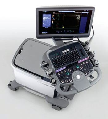Image: The Acuson SC2000 Prime Edition ultrasound system offers live full-volume color Doppler imaging of heart valve anatomy and blood flow using a new true volume transesophageal echo (TEE) probe. With this technology, physicians can obtain a more anatomically authentic view of the heart and dynamic blood flow in one view during interventional valve procedures, even in patients with ECG abnormalities (Photo courtesy of Siemens Healthcare).