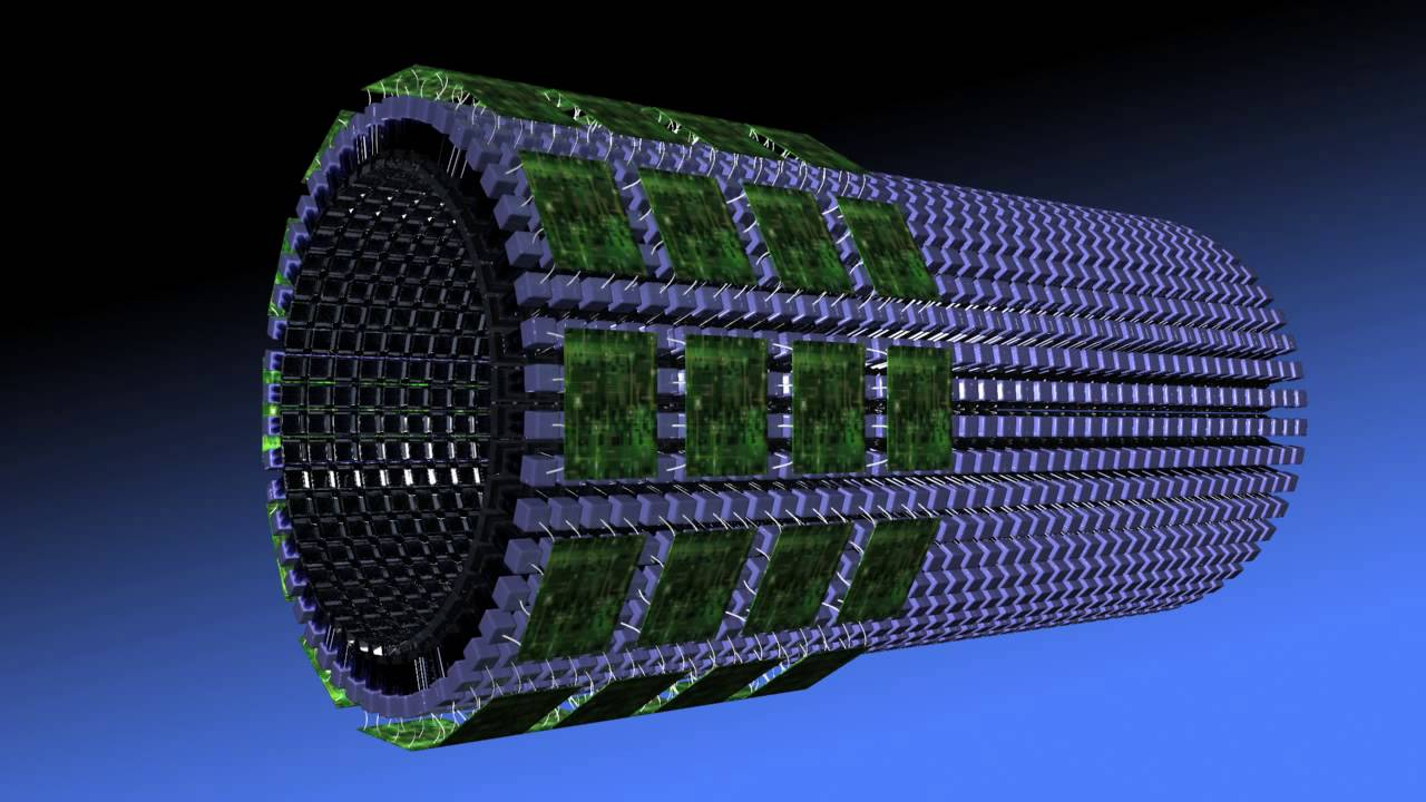 Image: Design of the Explorer total body PET scanner (Photo courtesy of Joe Proudman/UC Davis).
