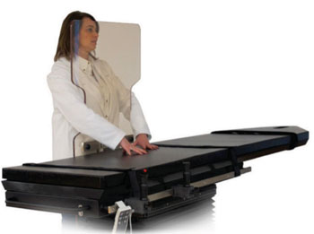 Image: The Biodex C-Arm 840 table and Clear-Lead Personal Mobile Barrier (Photo courtesy of Biodex).