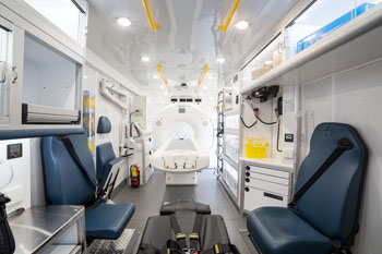 Image: The interior of the MSU, with CT scanner (Phot courtesy of UT College of Medicine).